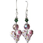 """My Secret Garden"" Lampwork Art Glass Artisan Earrings, ""Pink Hearts, White Flowers, "" #23"