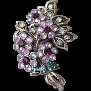 Pretty Vintage Avon Lilac & Purple Aurora Borealis Rhinestone Flower Bouquet Pin