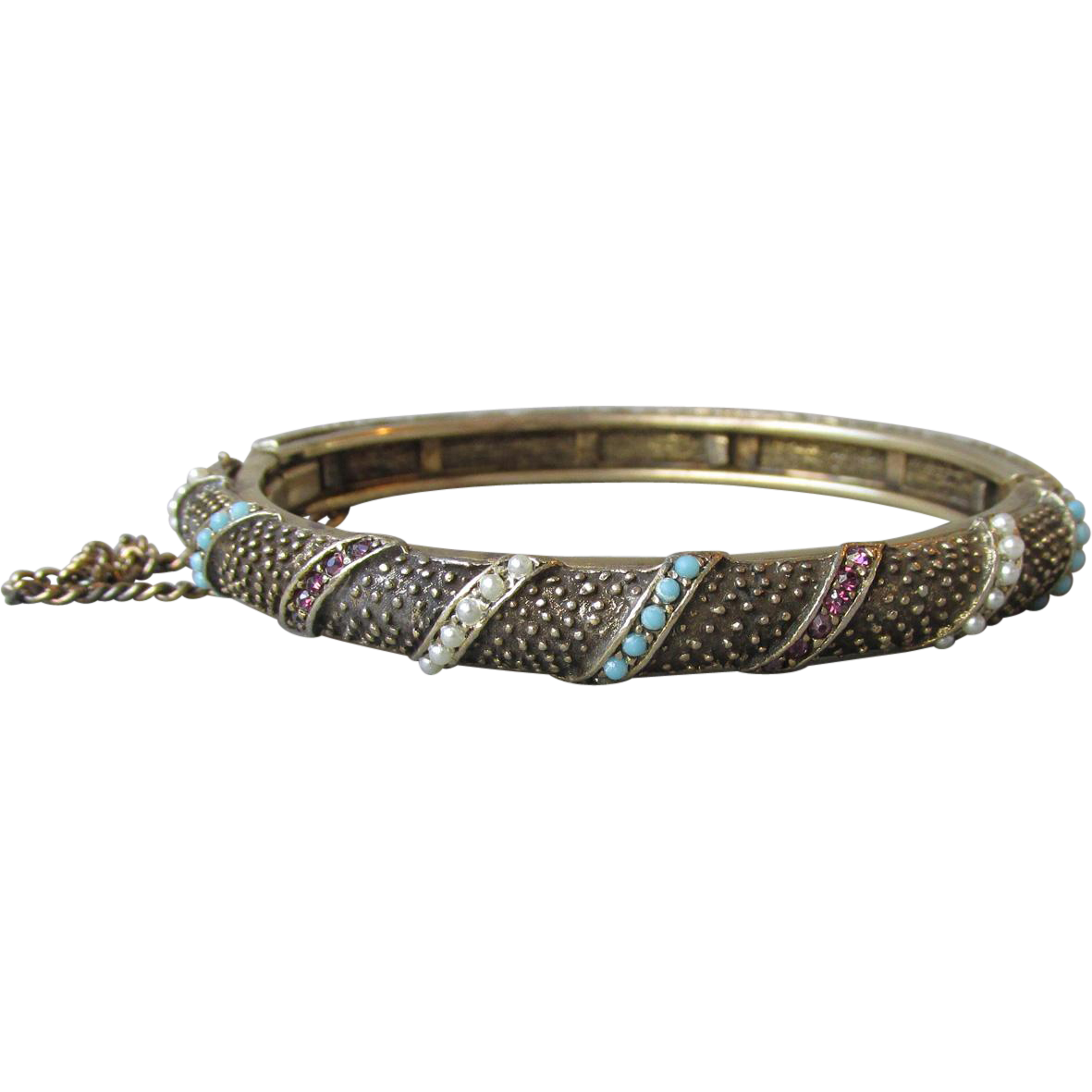 1960's Hinged Bangle Bracelet with Faux Turquoise, Seed Pearls & Garnets