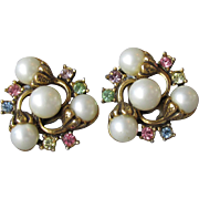 Unsigned Hollycraft 1950's Vintage Pastel Rhinestone & Faux Pearl Flower Earrings