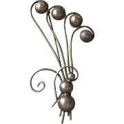 1930's Vintage BIG Art Deco Sterling Silver Moderne Bouquet Pin