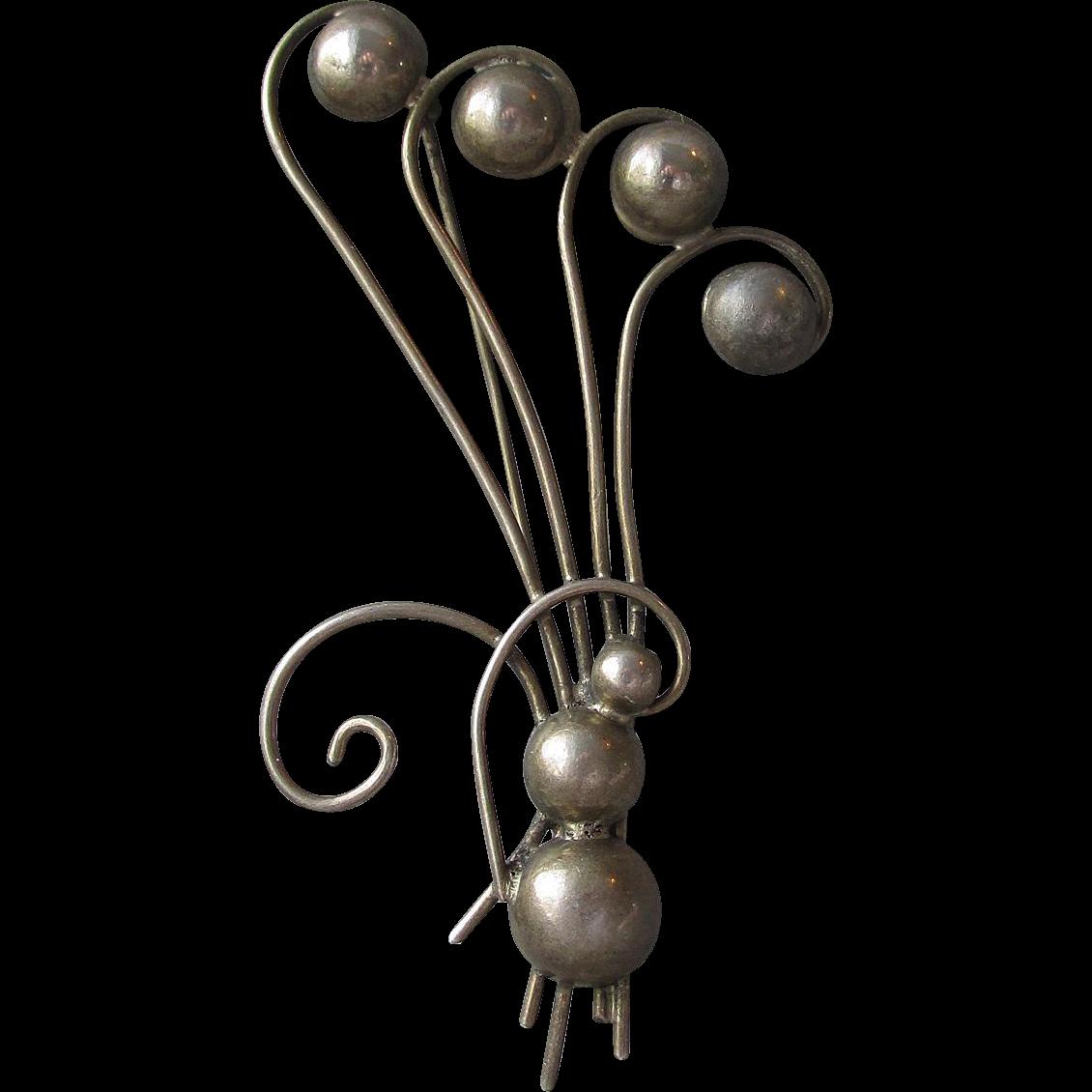 1940's Retro BIG Art Deco BLACK Sterling Silver Bouquet Pin