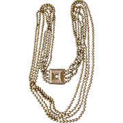 "1960's Vintage 4 Strand 40"" long Textured Gold Tone Bead Necklace, HUGE Square Faux Clasp"
