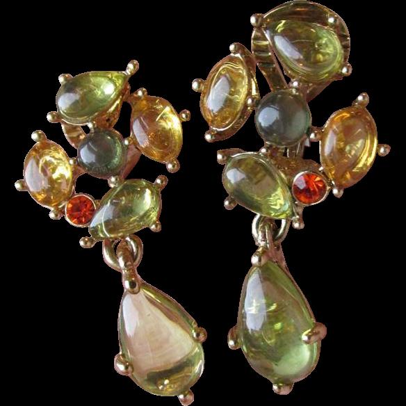 Vintage Monet Faux Citrine & Peridot Glass Cabochon Dangle Earrings