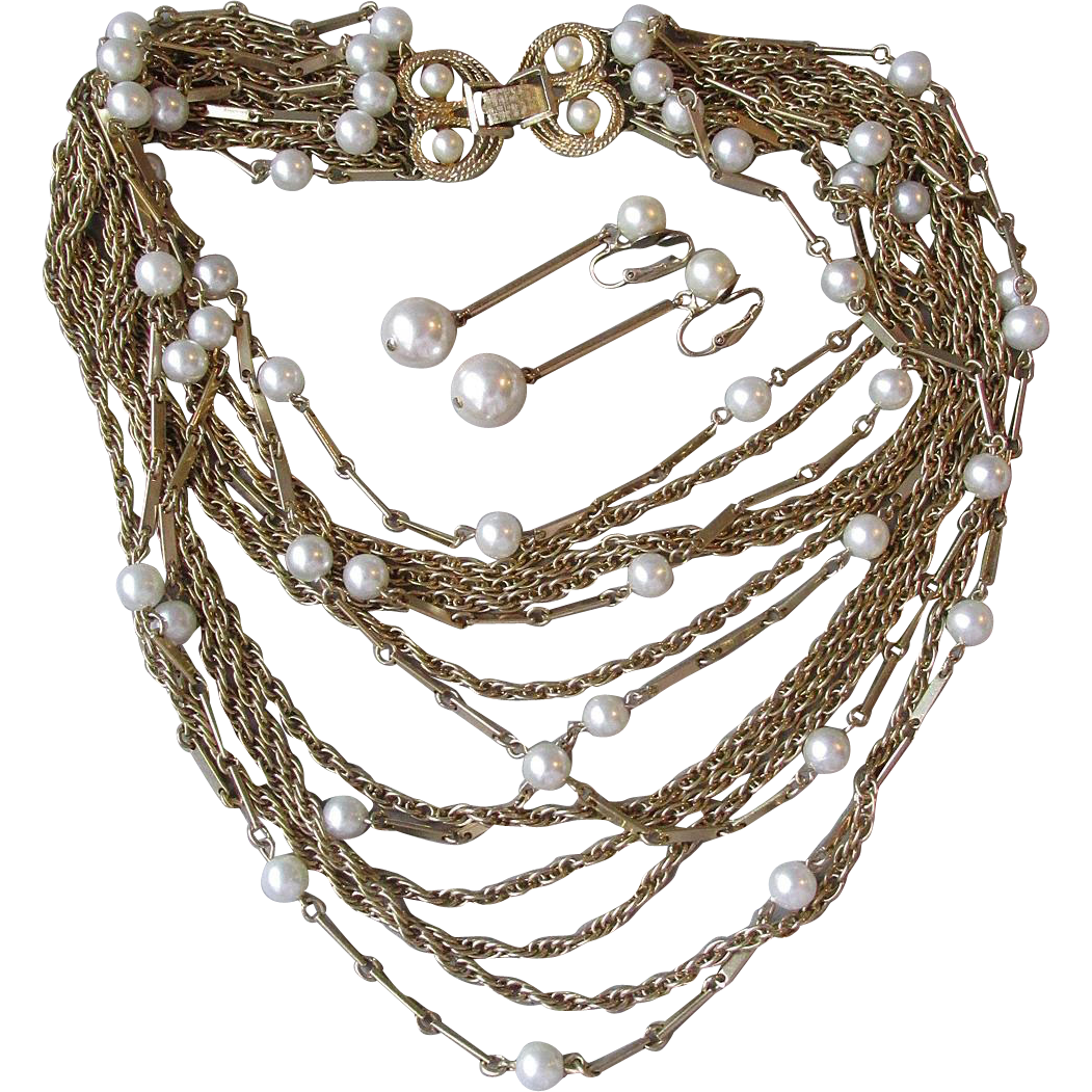 1950's Vintage 13 Strand Gold Tone Chain & Faux Pearl BIB Necklace & Long Dangle Earrings Set