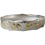 Vintage Gold Plate & Sterling Silver HAWAIIAN Bamboo Etch Bangle Bracelet, Size XL Large 8 1/2""