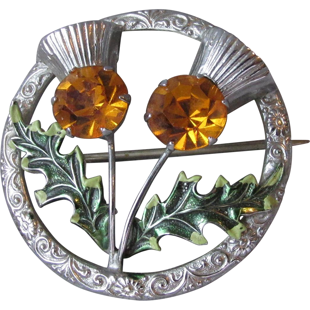 Vintage Scottish Amber Rhinestone & Enamel THISTLE Pin by Mizpah Miracle