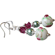 """My Secret Garden"" Lampwork Art Glass Artisan Earrings, ""Vintage Wedding Cake Beads"" #29"