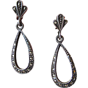 Vintage Dainty Sterling Silver Marcasite Dangle Tear Drops Pierced Earrings