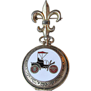 CORO Vintage Fleur de Lis Double Photo Locket Pin, Antique Car Enamel Cover