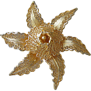 Fine Vintage Spanish Gold Filled Sterling Silver Vermeil Star Flower Pin