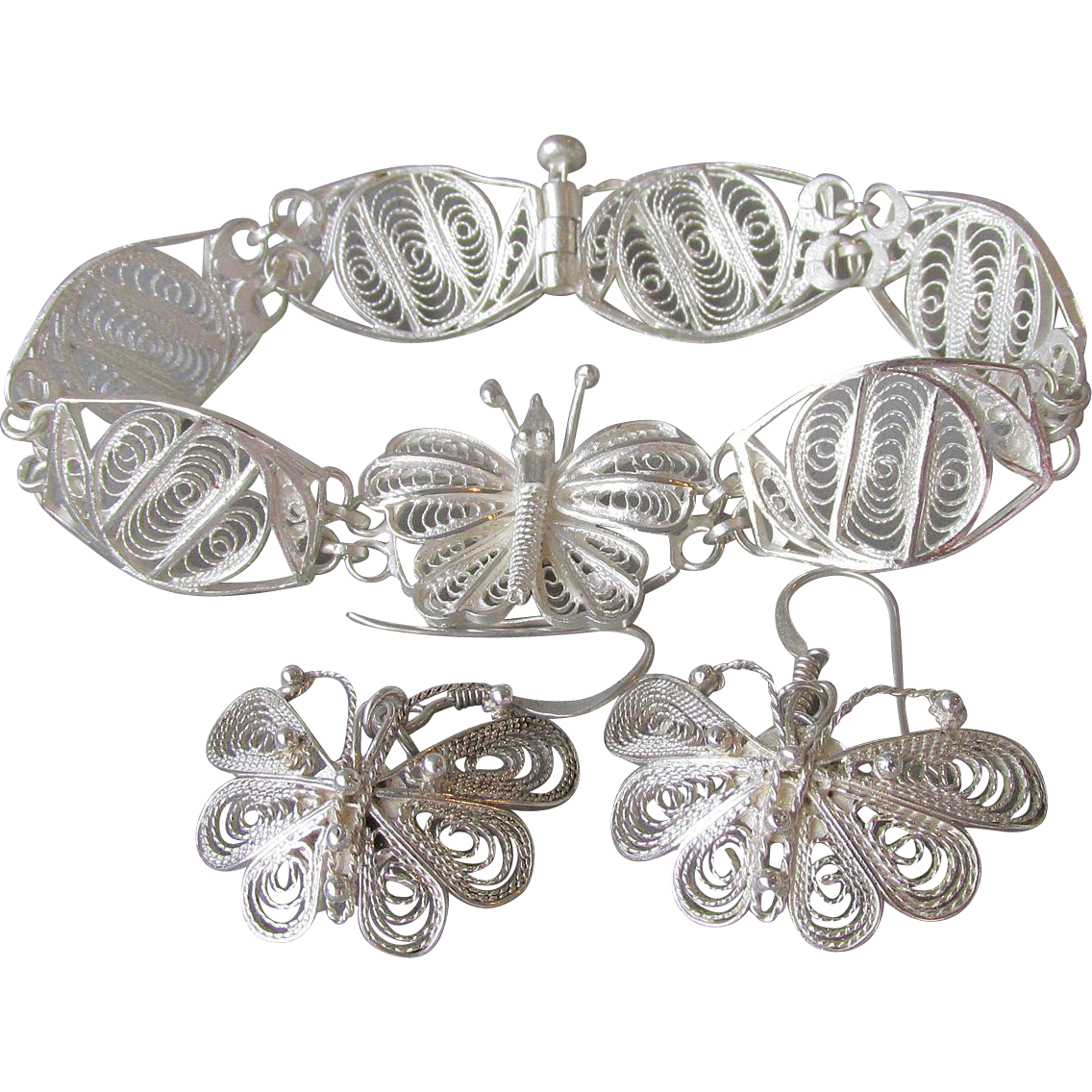 Vintage Sterling Silver Filigree BUTTERFLY Bracelet & Dangle Pierced Earrings Set