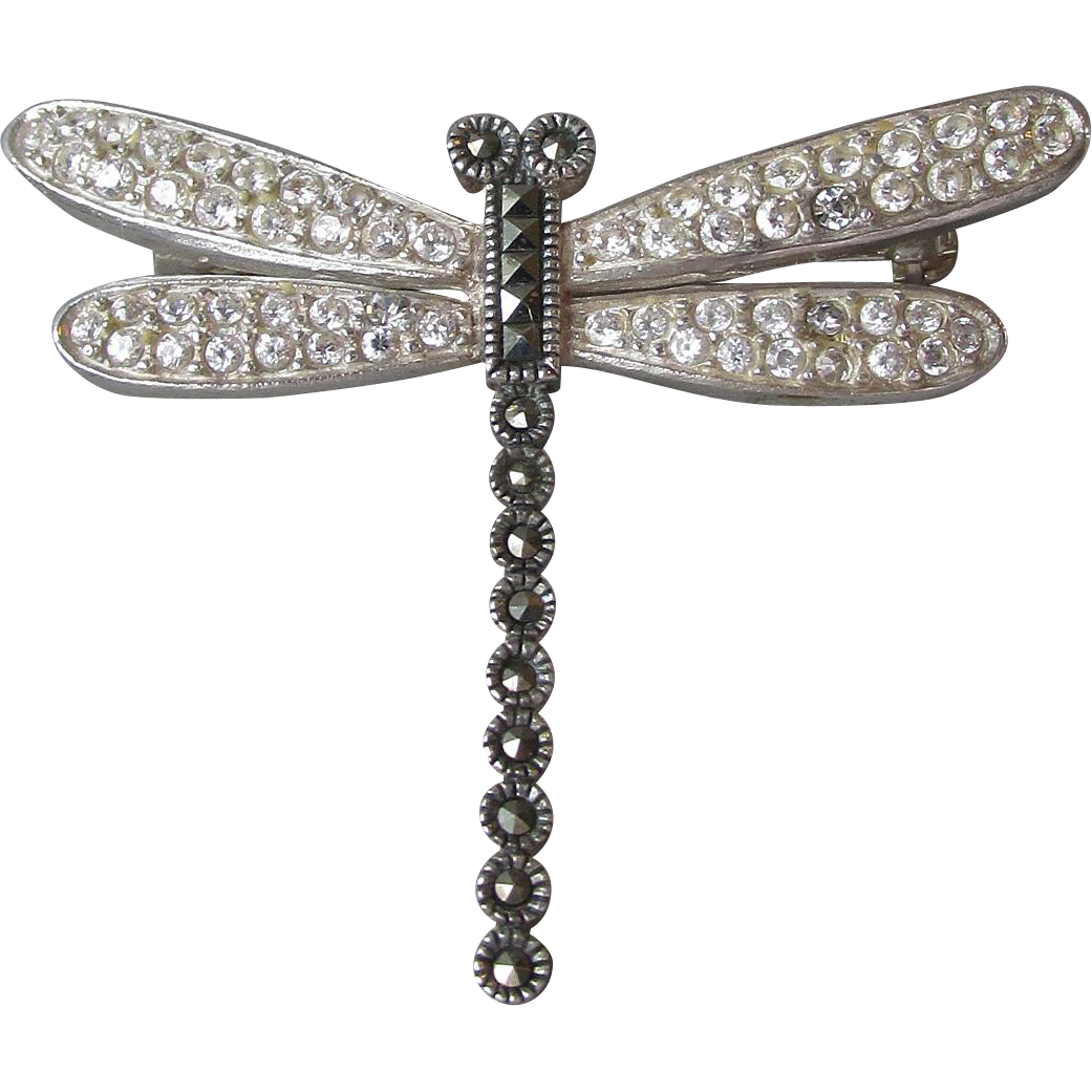 Pretty Sterling Silver, Marcasite & Rhinestone DRAGONFLY Vintage Pin