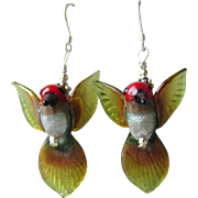 """My Secret Garden"" Lampwork Art Glass Artisan Earrings, ""Anna's Hummingbirds"" #1"