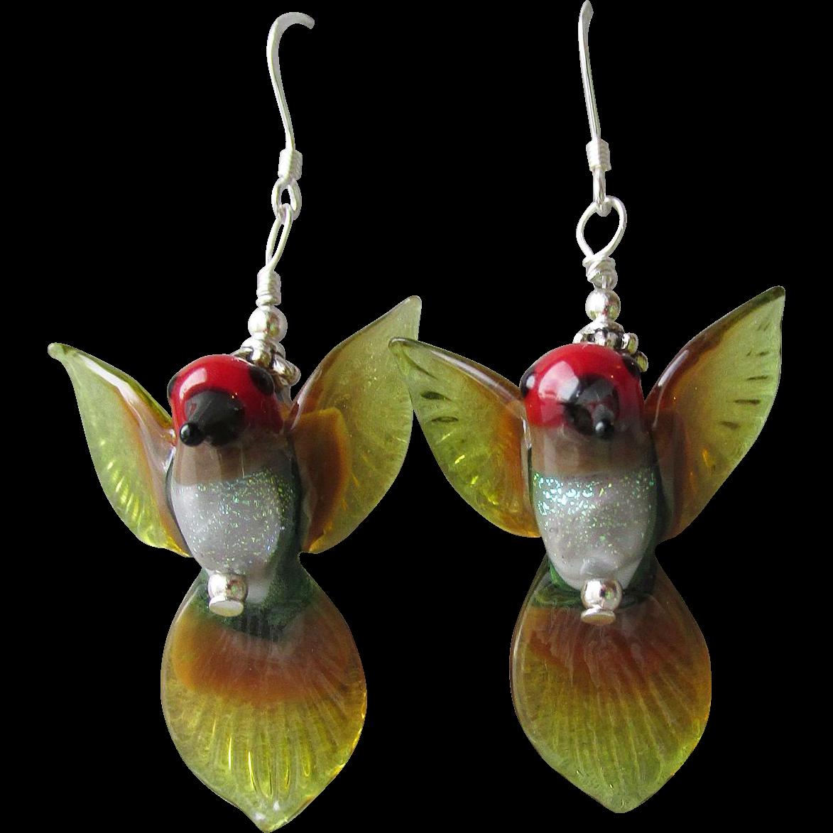 """""""My Secret Garden"""" Lampwork Art Glass Artisan Earrings, """"Anna's Hummingbirds"""" #1"""