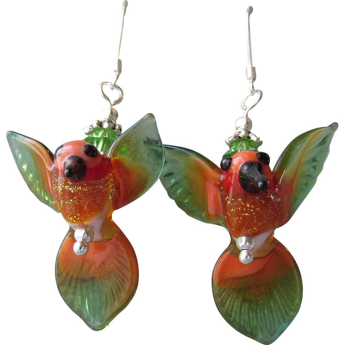 """My Secret Garden"" Lampwork Art Glass Artisan Earrings, ""Rainforest Hummingbirds"" #2"