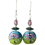 """My Secret Garden"" Lampwork Art Glass Artisan Earrings, ""Margarita Dragonfly"" #34"