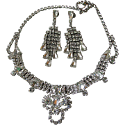 Spectacular Vintage Unsigned WEISS Rhinestone Necklace & Waterfall Earrings Set, Bridal Demi Parure