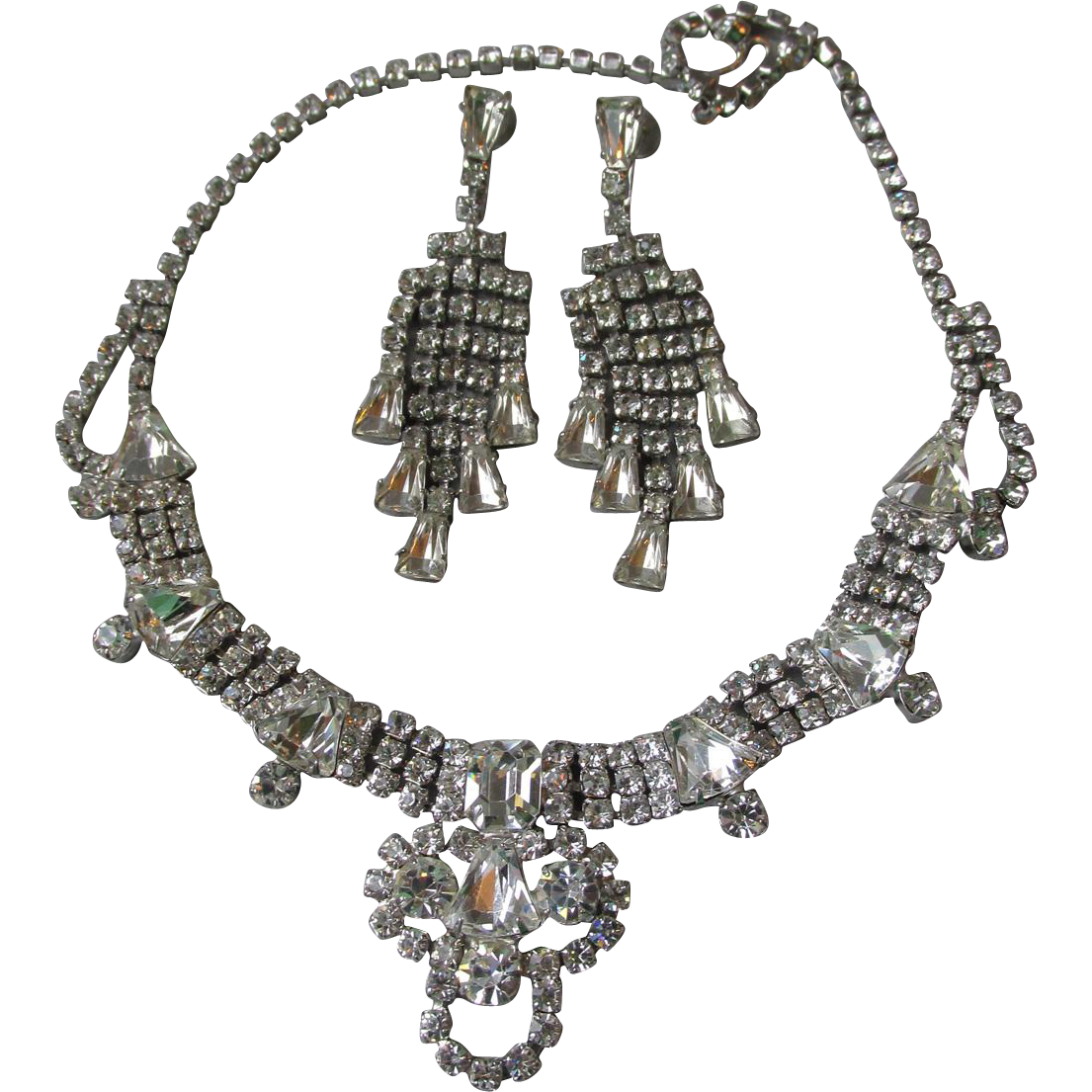 GLITZ! Vintage Big Unsigned WEISS Rhinestone Necklace & Waterfall Earrings Wedding Prom Set