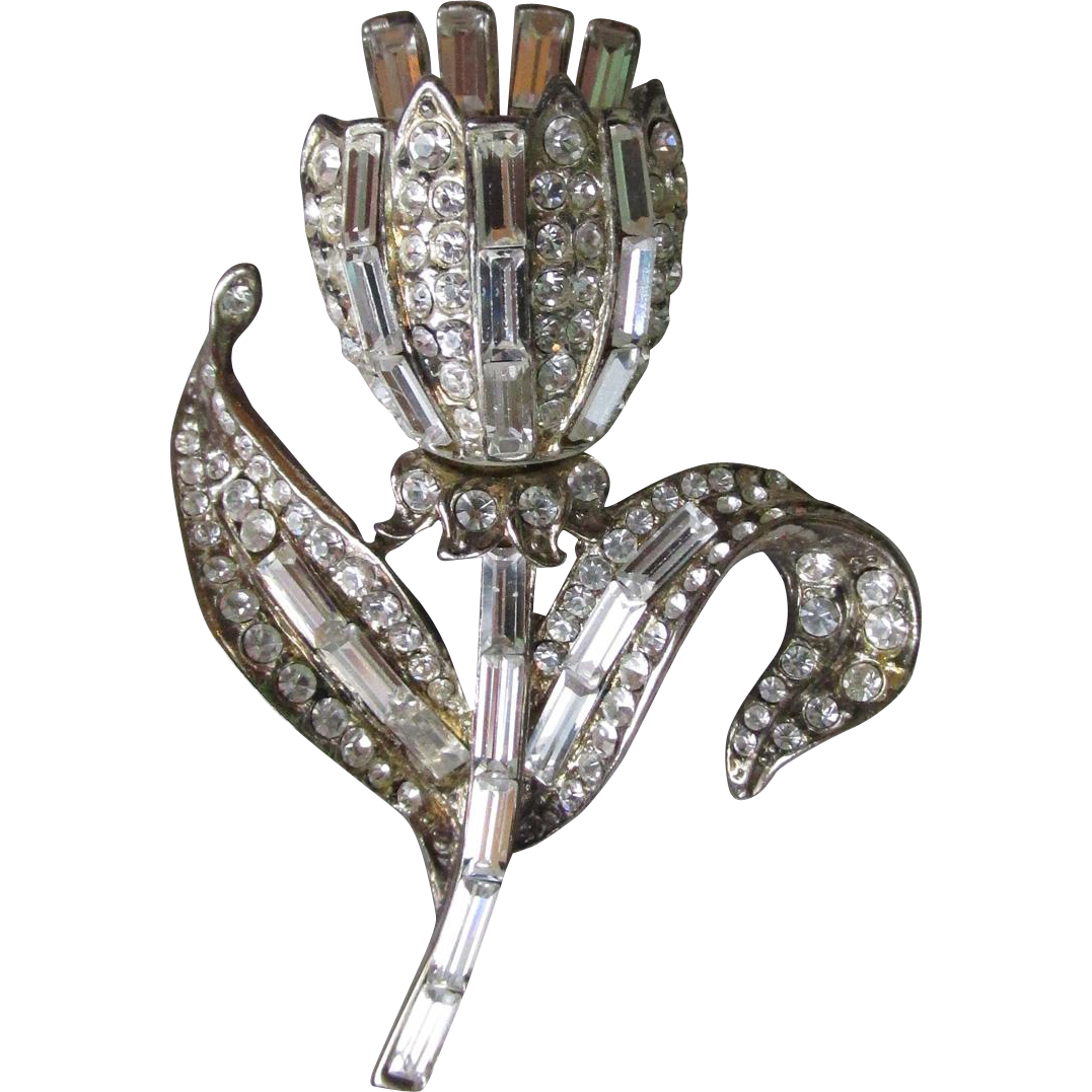 Signed 1930's Rhinestone Tulip Flower Trembler Pin