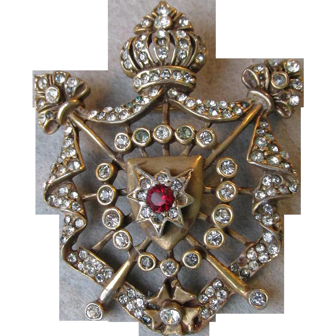 Signed Hattie Carnegie Vintage Rhinestone Heraldic Crown & Shield Pin