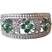 Pretty Open Work Sterling Silver Emerald & Diamond Flower Ring, Size 6