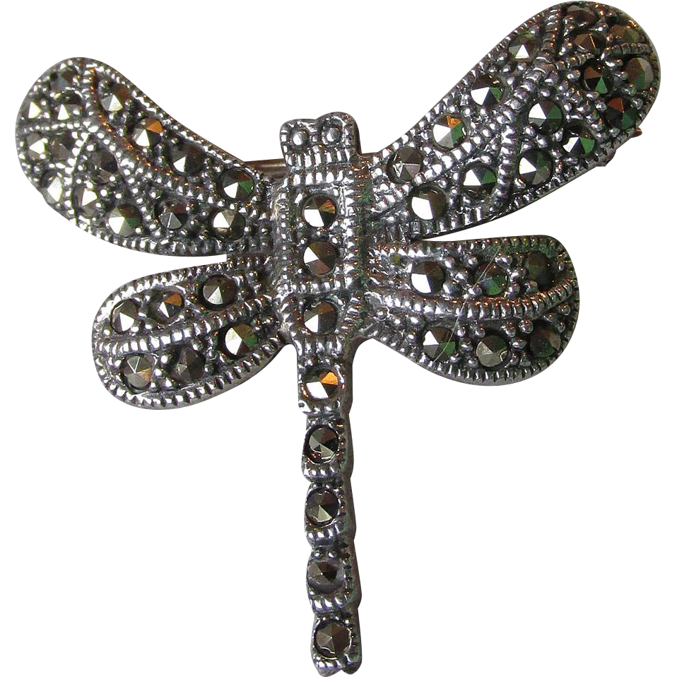 Pretty Little Sterling Silver & Marcasite DRAGONFLY Pin
