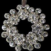 Brilliant Sparkle 1950's Vintage Rhinestone Flower Circle Pendant