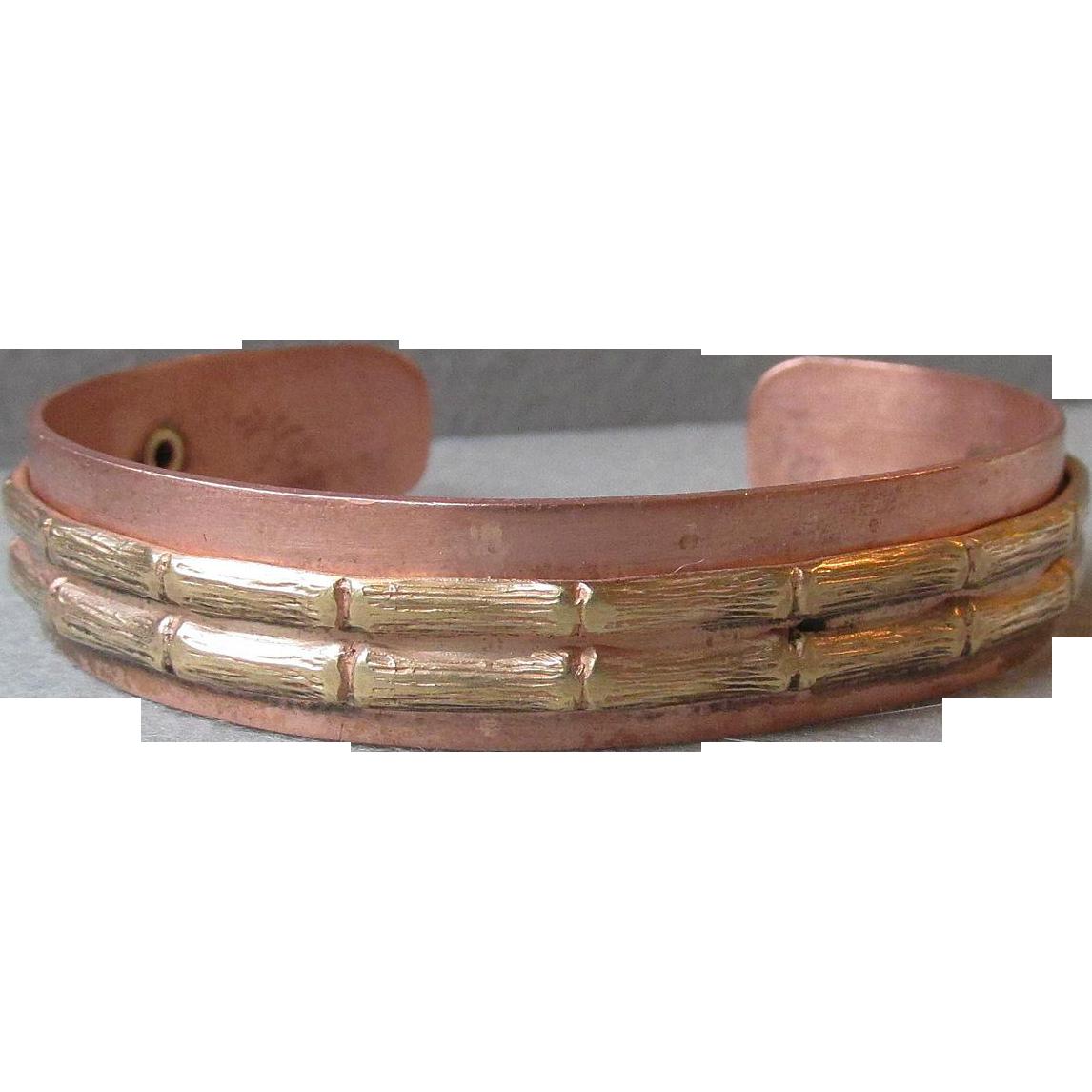 1960's Vintage Copper & Brass BAMBOO Cuff Bracelet
