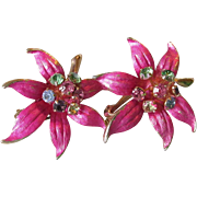 Pretty Vintage 1960's Hot Pink Enamel & Multi Color Rhinestone Tropical Flower Earrings