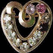 CURTIS 1/20 14K Gold Fill HEART Birthstone Pin- Vintage Rhinestone Brooch