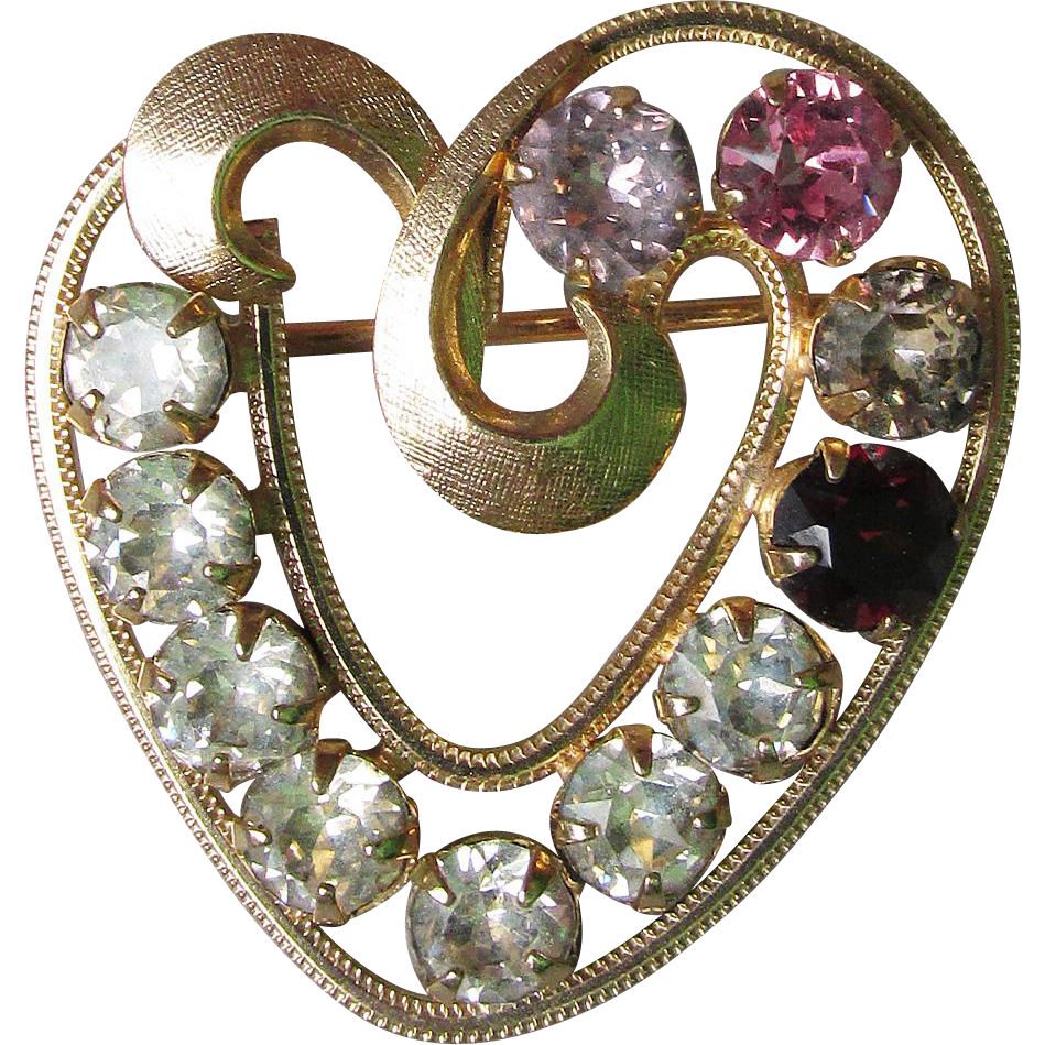 CURTIS 1/20 14K Gold Fill HEART Birthstone Pin- Vintage Rhinestone Brooch