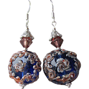"""My Secret Garden"" Lampwork Art Glass Artisan Earrings, ""Amber Midnight"" #19c"