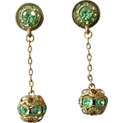 Vintage Green Rhinestone & Filigree Ball Bead Dangle Earrings, Converted to Pierced