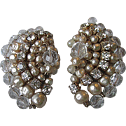 1950's Vintage Faux Baroque Pearl, Rhinestone & Crystal Big Fan Earrings