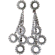 Unsigned CINER 1960's Vintage Long Dangle Rhinestone Multi Circles Earrings