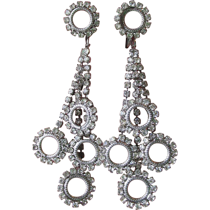 1960's Vintage Long Dangle Rhinestone Multi Circles Earrings