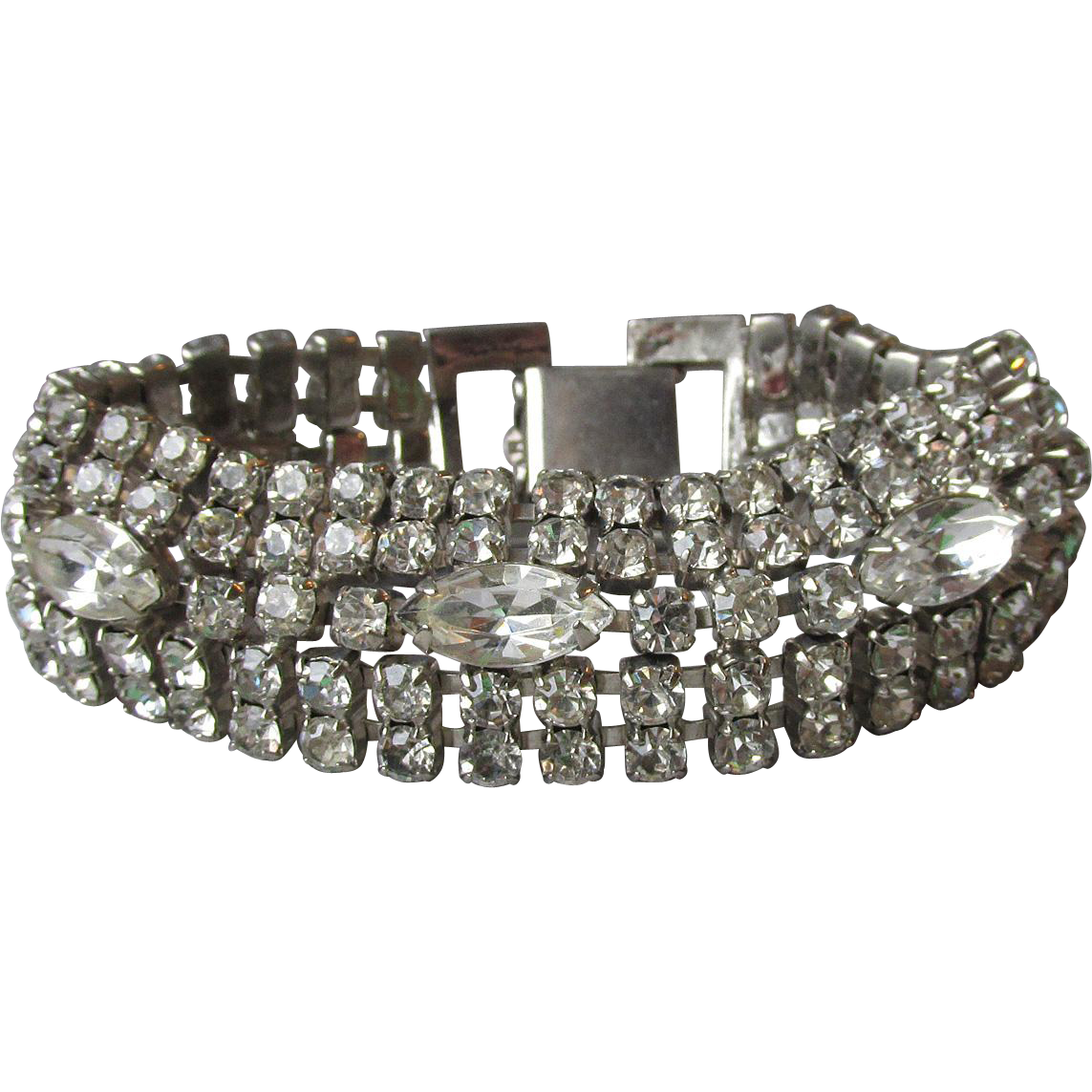 Brilliant Unsigned WEISS Five Row Chaton & Marquise Vintage Rhinestone Bracelet, Pristine!