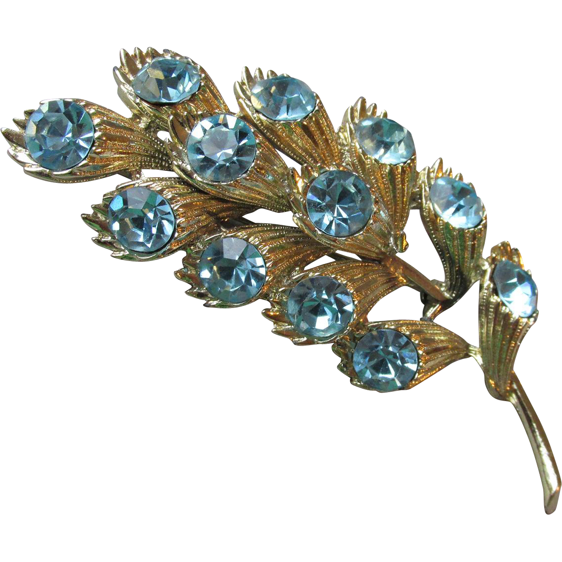BIG Vintage CORO Blue Rhinestone Flower Spray Pin