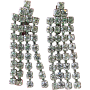 1950's Vintage Unsigned WEISS Four Row Rhinestone Waterfall Earrings