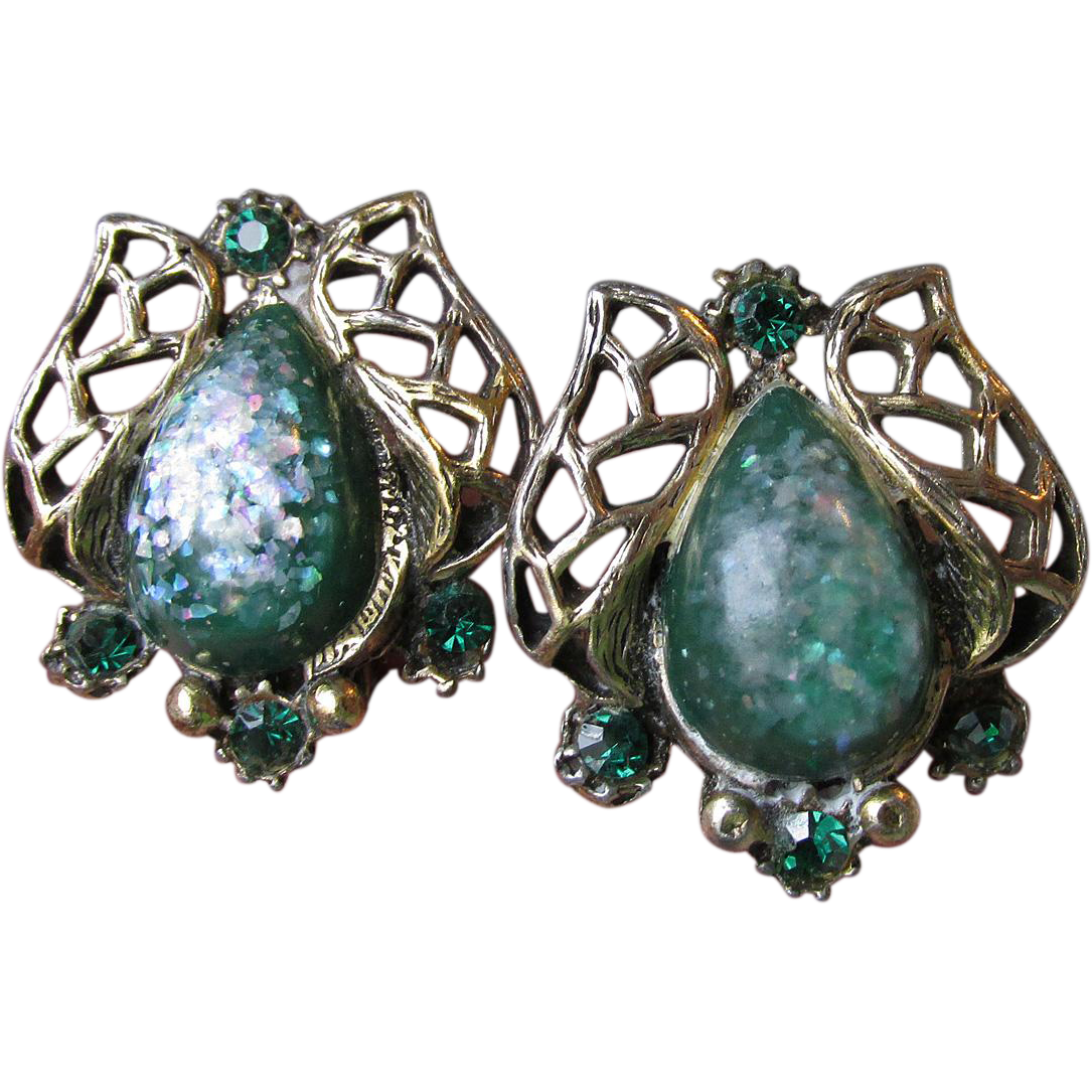 Vintage 1950's Green Glitter Lucite & Rhinestone Earrings