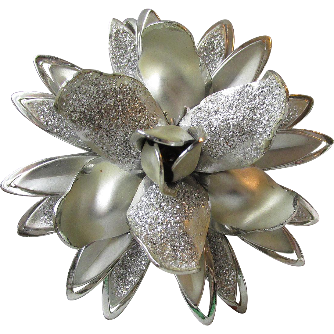 Early CORO 3-D Silver Tone Flower Pin, BIG Vintage Aluminum Brooch
