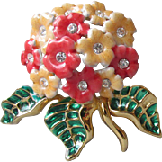 Vintage Joan Rivers Enamel & Rhinestone Flower Bouquet Pin