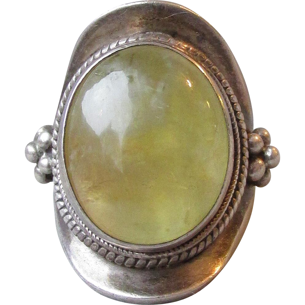 Massive Vintage Sterling Silver & Citrine Balinese Ring, Size 8