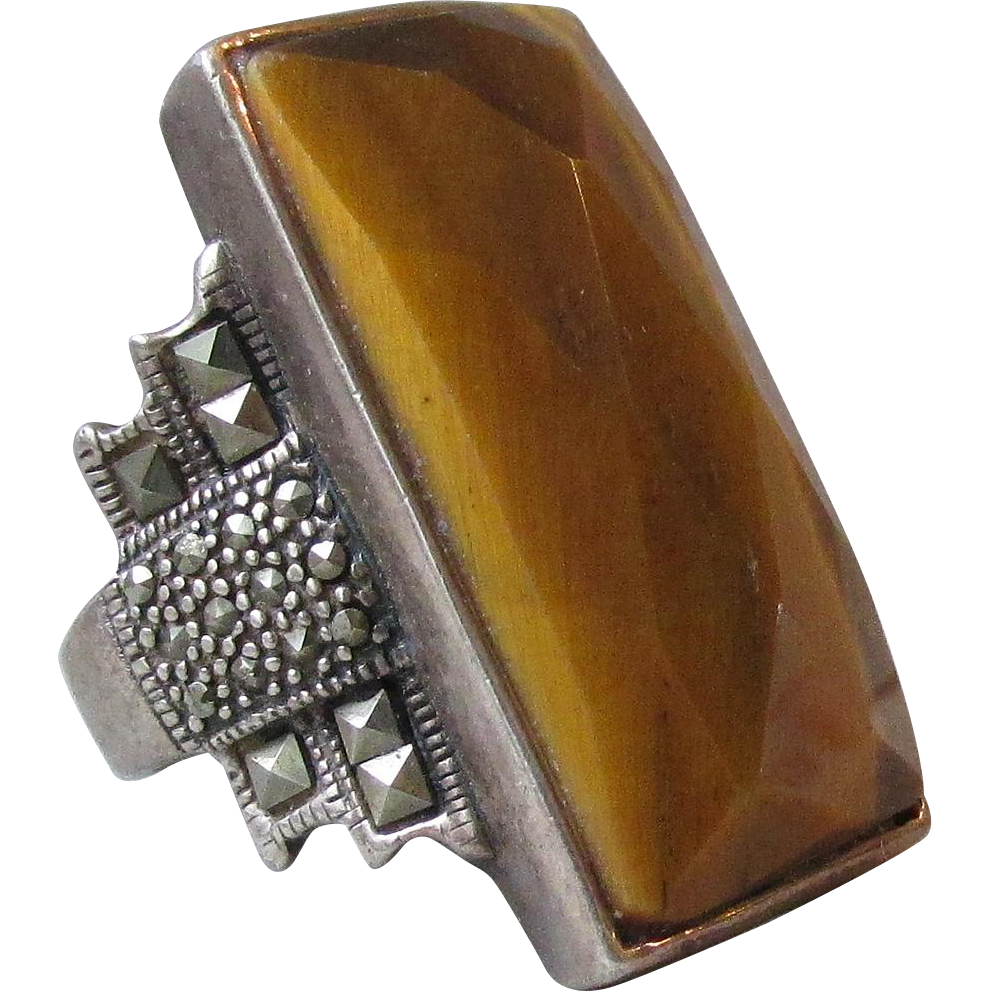 Humongous Vintage Sterling Silver & Marcasite Tiger's Eye Ring, Size 8.5