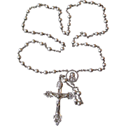Vintage ALL Sterling Silver Ornate Rosary, Signed HMH
