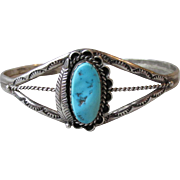 Vintage 1980's Native American Navajo Sterling Silver & Turquoise Feather Cuff Bracelet, Signed Dakota West Schube