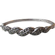 Pretty Vintage Sterling Silver & Marcasite Hinged Bangle Bracelet, Size SMALL