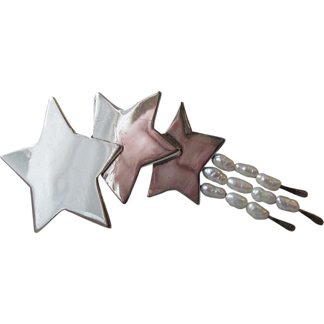 Vintage Great Falls Metal Works Sterling Silver & Cultured Pearl Shooting Stars Pin, Hand-Crafted Brooch