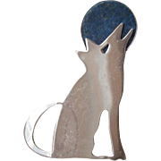 Vintage Great Falls Metal Works Sterling SILVER Coyote Howling at a LAPIS Lazuli MOON Pin